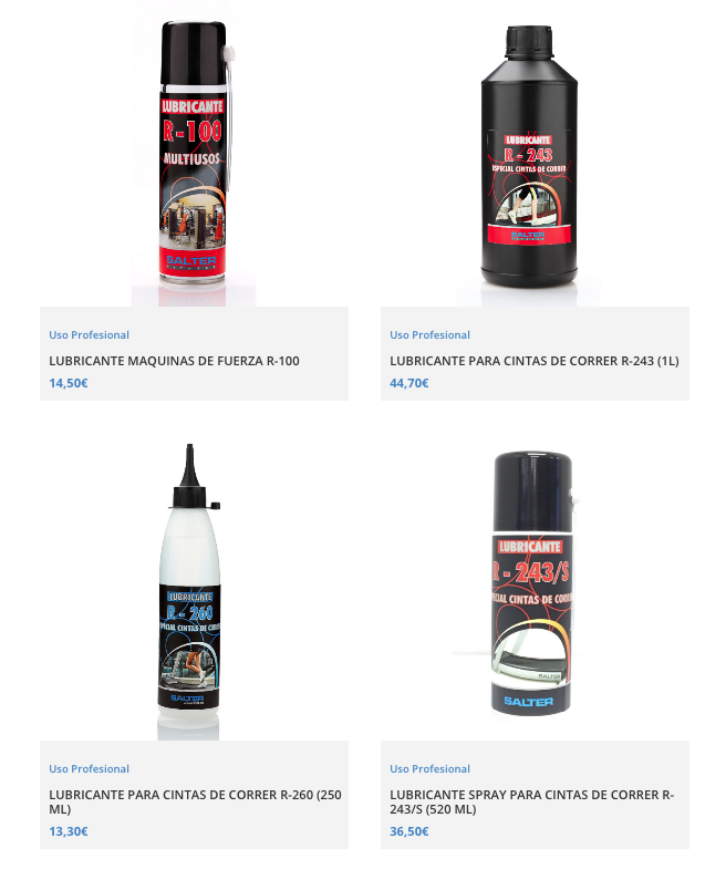 lubricantes para engrasar cinta de correr